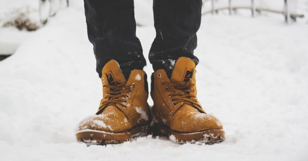 Work boots in the snow